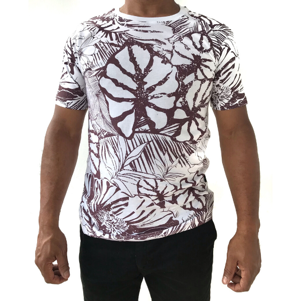 White Allover Floral Print T-shirt from The Will Shop in Vacoas Mauritius