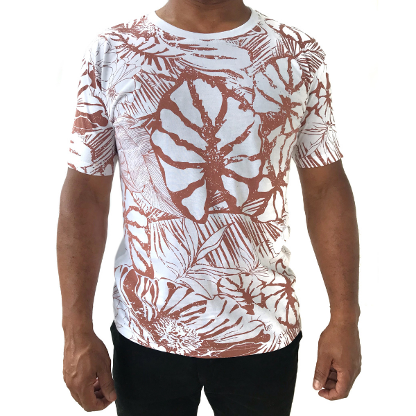 White Floral Allover Print T-shirt from The Will Shop in Vacoas Mauritius