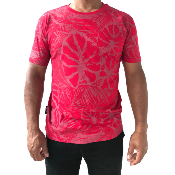 Red Floral Allover Print T-shirt from The Will Shop in Vacoas Mauritius
