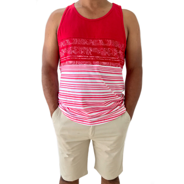 Red Sleeveless Jersey Top for Men with patterns from The Will Shop in Vacoas Mauritius